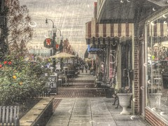 Shopping in the Rain (clarkcg photography) Tags: decemberrain flickrfriday rosedistrict shower rain weather mood texturaltuesday texture