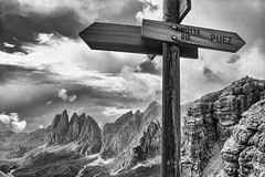 The Dolomites, Northern Italy: Puez Rifugio Sign (rocinante11) Tags: monochrome sign italy italia dolomites dolomiti backcountry bw blackandwhite blackwhite italie italianalps