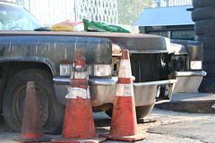 Clunkers in Greenwood (vetaturfumare - thanks for 2 MILLION views!!!) Tags: rust decay rot parked old junk skrot skrotbil cones trafficcone rusty wreck tired tires däck reifen rost 1969