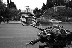 Arrested... (Michael Kalognomos) Tags: motorcycle policeman biker mirror reflection bokeh dof bw athens greece ef1635f4lisusm canoneos5dmarkiii streetphotography blackwhite depthoffield ermoustreet duty zteam syntagmasquare road streetlife monochrome wideangle city urbanlandscape