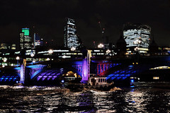 Night Boat (Douguerreotype) Tags: london uk bridge dark river water british buildings lights architecture city thames britain urban gb night england cityscape