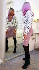 Cortney - Mirror image - Purple Hair Polkadot top with Lavender Theme (Cortney10100) Tags: black dress cortney tv tg tgirl tgurl transgender heels highheels femme tranny trannie transsexual transvestite crossdress crossdresser stilettos domme leather thigh indoor nails people purple lavender polkadot portrait mirror