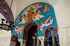 Lydia of Thyatira (CaptSpaulding) Tags: lydia greece philippi greekorthodox church stainglass water tree bap leaves stone stonework painting