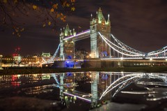 Last stop: Tower Bridge (PeterThoeny) Tags: london unitedkingdom uk towerbridge bridge reflection water waterreflection wet wetreflection fall autumn night lights sky cloud cloudy sony sonya7 a7 a7ii a7mii alpha7mii ilce7m2 fe2870mmf3556oss 1xp raw photomatix hdr qualityhdr qualityhdrphotography