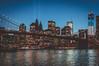 Tribute in Lights over the Brooklyn Bridge and Lower Manhattan. (rjdibella) Tags: brooklyn night usa september11th worldtradecenter newyorkcity tributeinlights newyork 2012 summer manhattan brooklynbridge nyc wtc unitedstates us