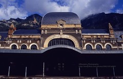 Canfranc, abandoned train station (blauepics) Tags: spain spanien espana aragon landscape landschaft pyrenäen pyrenees mountains gebirge berge hills hügel train station bahnhof estacion building gebäude architecture architektur railway eisenbahn facade fassade
