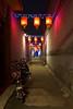 Street with red lanterns by night in Pingyao (leonardrodriguez) Tags: redlanterns lanterns lanternes lanterne bynight nocturne nuit lumière lights denuit bokeh 中华人民共和国 cinese chinois 平遙 china shanxi cina chine pingyao ancientcityofpingyao light night lighting illuminated