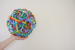 Twelve Interlocking Irregular Hyperboloidal Dodecahedra (Byriah Loper) (Byriah Loper) Tags: origami origamimodular modularorigami modular compound complex byriahloper byriah paperfolding paper polygon polyhedron pentagonal dodecahedron