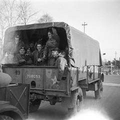 (Podkin) Tags: nationalservice 1950s war blackandwhite film negative scan vintage truck soldiers transport 5throyaltankregiment