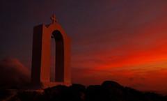 Blood Red Sunset, Santorini (JinxiPhotography) Tags: santorini oia blood red church holy image orange bright dramatk dramatic monument bell cross greece cloud