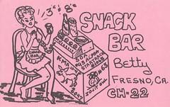 Snack Bar: Snack Bar - Fresno, California (1) (73sand88s by Cardboard America) Tags: vintage qsl qslcard cbradio cb california snackbar