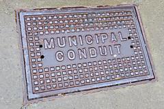 Municipal Conduit, Binghamton, NY (Robby Virus) Tags: binghamton newyork ny upstate municipal conduit metal sidewalk cement concrete pavement