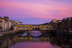 Last Light (Patrick Dirden) Tags: sunset dusk clouds light blue pink yellow orange reflection twilight river water arnoriver pontevecchio florence firenze tuscany florenceitaly italy europe