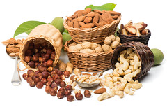 Dry fruits (kashmirbox) Tags: fruit closeup isolated ripe unripe whole green white bowl wicker leaf different assortment peanut basket walnut pine collection nutshell brazil seed kind kernel shell hazelnuts almond set various variety assorted variation cracker ingredient nut spain