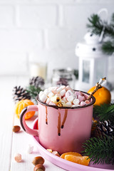mug with hot chocolate with melted marshmallow (lyule4ik) Tags: chocolate cup mug hot drink sweet christmas winter food marshmallow cocoa white holiday milk warm cappuccino dessert closeup happy fun funny cute spa decoration relax gourmet smile red face nobody relaxation snowman cream home xmas comfort humor traditional festive light celebration cheerful children decorated melted seasonal tradition background beverage blue
