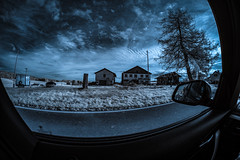 ...StrangerThingsWorld.... (7H3M4R713N) Tags: fujifilm xt1 infrared convertedcamera 720nm switzerland jura romandie ontheroad fisheye 8mm rokinon8mmf28 bluesky sky clouds light bmw f21 tree house farmer paysage paysan experimental mirorless manualfocus manuallens