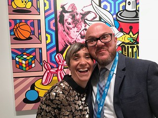 Grela Orihuela with Fabien Castanier in his Booth at the Art Miami VIP opening