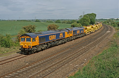 66704/713 Wellingborough (Gridboy56) Tags: wellingborough northamptonshire uk europe england emd gm gbrf class66 shed 66704 66713 6m11 fermepark trains train railways railroad railfreight freight wagons cargo locomotive locomotives