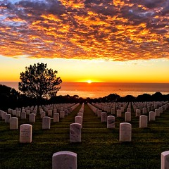 """Sunset @ Fort Rosecrans National Cemetery (1bluecanoe) Tags: iphonegraphy veterans cemetery ca """"sandiego"""" """"fortrosecransnationalcemetery"""" sunset"""
