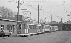tram depot Lille (peter.velthoen) Tags: neg01134 tram lille amitram special depot france car shed loods tramloods volvo 66 variomatic wisselstraat kasseien vriendenvandentram pienterpookje agfa
