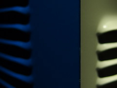front and side louvres, stick welder. (brian teh snail) Tags: macromondays stick aecwelder louvres blue grey
