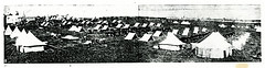 Black and White Photograph of Military Camp at Fort Lytton, Brisbane (Queensland State Archives) Tags: brisbane fortlytton military encampment queensland historicbuildings lytton tents camp soldiers horses
