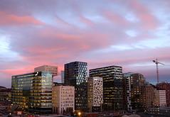 Oslo Skyline (Vers. 1) (ericgrhs) Tags: oslo sunset sundown clouds sky skyline skyscrapers hochhäuser norway architecture city urban lights evening stadt norwegen norge highrisers buildings