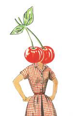 Cherry (dadadreams (Michelle Lanter)) Tags: fruit fruity collageart red cherry cherries rockabilly gingham retrofashion vintagefashion