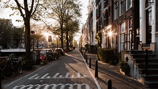 Sunset in Amsterdam stree