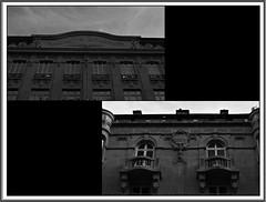 3 - Reims - Rue de Vesle - Façade, Détails (melina1965) Tags: reims marne grandest octobre october 2017 nikon d80 mosaïque mosaïques mosaic mosaics collages collage noiretblanc blackandwhite bw sculpture sculptures fenêtre fenêtres window windows nuage nuages cloud clouds ciel sky