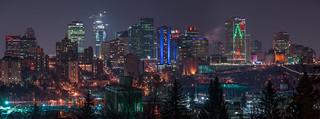 Edmonton Skyline + Telus Christmas Trees