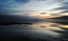 Foggy Lake (DrQ_Emilian) Tags: lake landscape sunset sun sky clouds nature reflection view water fogg foggy misty maxeythsee stuttgart badenwürttemberg germany europe travel mood eveningmood dawn outdoors colors light