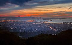 Looking Across the Bay (TwistedPixel) Tags: sunset sanfrancisco bayarea landscape oakland bridge baybridge ca california
