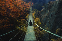 Acquiescent [20171115] (BlueFunambulist (M.G)) Tags: bluefunambulist life love nature fineart photography bridge colours intense saturation forest trees human person solitude travel trip andalucía españa europe pines art young wild discover explore roadtrip