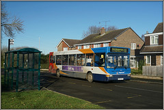 34625, Admirals Way (Jason 87030) Tags: dennis dart slf pointer stagecoach midlands daventry southbrook estate admiralsway busstop shelter houses rugby 34625 kx54ooy red orange white blue color colour local trees bird box view shadow light