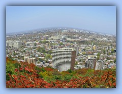 A View From Above (bigbrowneyez) Tags: mountroyal montrealquebec canada buildings sky nature natura beautiful bushes red leaves frame cornice amazing scenic view pretty flickrstriking aviewfromabove cielo blueskies stunning details gorgeous thetop cityscape