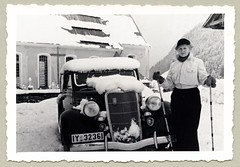"Ford V8 Cabriolet (Vintage Cars & People) Tags: vintage classic black white ""blackwhite"" sw photo foto photography automobile car cars motor vehicle antique auto ford v8 fordv8 cabriolet cabrio convertible 1930s thirties fashion lady woman ski skier ladyskier mittens wintersport landscape snow snowy holiday holidays vacances ferien urlaub"