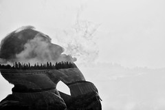 Tuscany in the mind ... (Anna-logisch) Tags: sky smoke landscapesilhouette tuscany man fog nikond7000