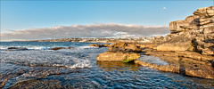 On and off the rocks (JustAddVignette) Tags: australia clouds clovelly dawn easternsuburbs hightide landscapes newsouthwales ocean panorama rocks seascape seawater sky sunrise sydney water