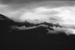 Bregenzerwald (shleebz) Tags: mist wolken winter dunkel dark sky wood wald berge sw blackwhite bw panorama mountain clouds
