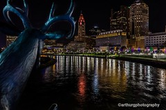 Downtown Columbus Ohio.  Prints available at  ArthurGPhotography.smugmug.com. thanks for looking! (arthuroleary) Tags: columbus ohio city cityscape night nightphotography streetphotography lights water scioto