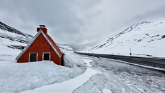 Little red house. (R.Price) Tags: road house red snow easternfjords copyrightrichardprice iceland