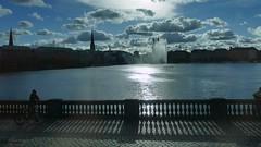 Hamburg (jehazet) Tags: cityscape hamburg backlight silhouette clouds binnenalster