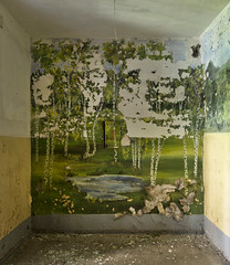 "Birch tree landscape mural inside an abandoned Soviet barrack. In the middle a electrical fuse box with the warning: ""380V danger of electric stroke"" (Sperrgebiet) Tags: mural"
