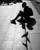 Profiles (torobala) Tags: street streetphotography blackandwhite monochrome silhouette people person one lonely london uk england trafalgar square pigeon bird sitting stair stairs