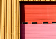 Garage Door (Karen_Chappell) Tags: yellow pink red door window windows architecture building garage geometry geometric lines rectangle paint painted colourful colour colours metal steel stjohns canada atlanticcanada city urban downtown