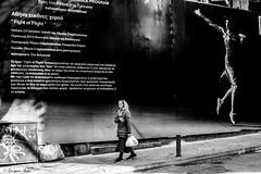 """Fight or Flight"" (Georgina ♡) Tags: monochrome blackandwhite greece athens woman walking ad"