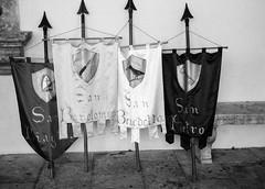 Festa flags. Leica M6, 35mm Summciron ASPH, Fomopan 100 (nickdemarco) Tags: rangefinderchronicles blackwhite film leicam6classic 35mmsummicronasph italy fomopan tuscany