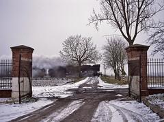 Grodzisk Wlkp PKP  |  2004 (keithwilde152) Tags: ol49111 grodzisk wlkp grablewo wielkopolska pkp poland 2004 town farm entrance passenger train tracks crossing steam locomotives winter snow