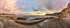 Crabs and kelp (JustAddVignette) Tags: whalebeach australia clouds colours dawn early headland landscapes newsouthwales northernbeaches ocean panorama reflections rockpool rocks sea seascape seawater sky sunrise sydney water waves